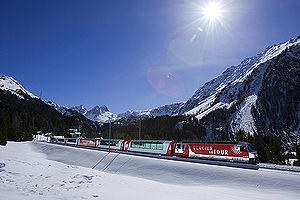 Glacier Express - The Glacier Express in the Albula Valley.