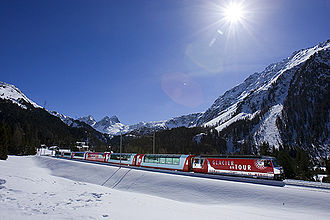 Glacier Express - The Glacier Express in the Albula Valley.
