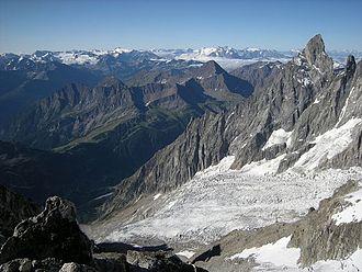 Brenva Glacier - Brenva Glacier with Aiguille Noire de Peuterey (right). Viewed from the Tour Ronde, July 2011.