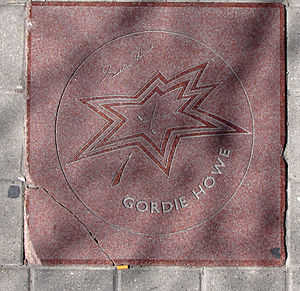 Canada's Walk of Fame - Gordie Howe's star on the Walk of Fame as of April 2009. Damage can be seen on the bottom left corner.