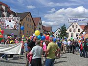 """A Colored balloons at a demonstration of """"Gräfenberg ist bunt"""""""