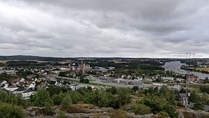 Greåker - Centre of Greåker seen from the fortress.