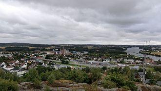 Greåker - Centre of Greåker seen from the fortress.