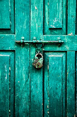 Green Lock and Door