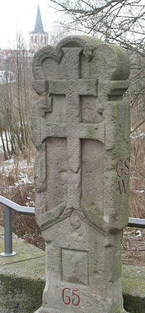 Hersfeld Abbey - Border stone of Hersfeld Abbey on the old Werra bridge between Philippsthal and Vacha