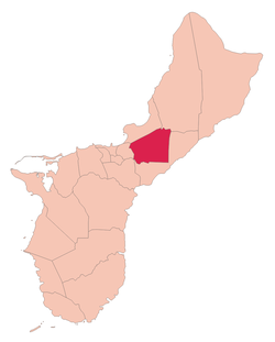 Location of Barrigada within the Territory of Guam.