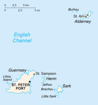 GY postcode area - Map of the Bailiwick of Guernsey