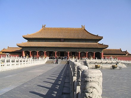 The Forbidden City, the official imperial household of the Ming and Qing dynasties from 1420 until 1924, when the Republic of China evicted Puyi from the Inner Court. Gugong.jpg