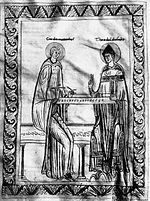 Guido d'Arezzo studying the monochord with Bishop Theobald. Guido d'Arezzo apprenant monocorde Theobald.jpg