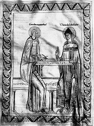Monochord - Guido d'Arezzo studying the monochord with Bishop Theobald.