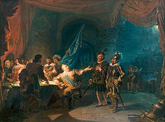 1631 in Sweden - Gustav II Adolf having a war negotiation in Würtzburg, giving commands to Axel Lilje and Ramsay