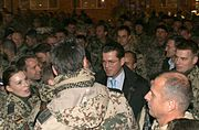 Guttenberg with soldiers in Kunduz Province