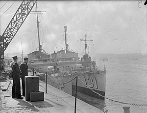 Bath Iron Works - Two of the seven Bath Iron Works destroyers transferred to the Royal Navy in the Destroyers for Bases Agreement.  The outboard ship made the St. Nazaire Raid.
