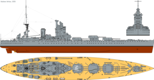Nelson-class battleship - 3-view profile drawing of HMS Nelson as she was in 1931, with Fairey Flycatcher aircraft carried amidships.