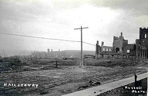 Temiskaming Shores - Haileybury after its destruction in the Great Fire of 1922.