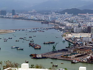 海南三亞市全景左(Left part of City Sanya in Hainan China)