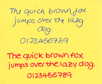 Penmanship - 'The quick brown fox jumps over the lazy dog', written by two different hands
