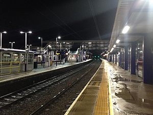 Thameslink and Great Northern - An example of widescale upgrade works at Harpenden station including the extension of platforms for 12 carriage trains, a new footbridge with lifts, new waiting rooms, brighter lighting, new ticket gates and automatic passenger information screens