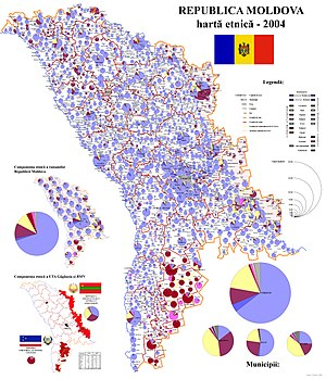 Harta etnica a Rep. Moldova - 2004