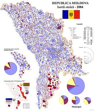 Moldovans - Image: Harta etnica a Rep. Moldova 2004