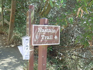Franklin Canyon Park - Hastain Trail sign in Franklin Canyon Park, Los Angeles, California