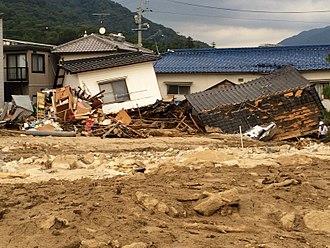 2014 Hiroshima landslides - A house shed by debris flow