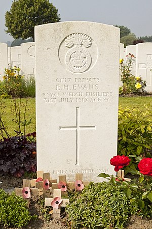 Hedd Wyn - The grave of Hedd Wyn at Artillery Wood Cemetery, Boezinge, Belgium.