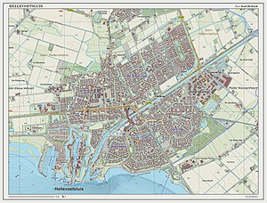 Hellevoetsluis - Dutch Topographic map of Hellevoetsluis (town), Sept. 2014