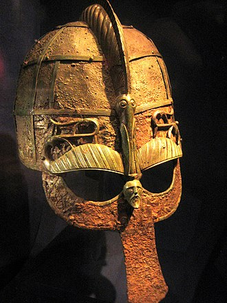 Swedish History Museum - Image: Helmet from a 7th century boat grave, Vendel era brighter