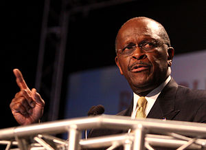 Herman Cain presidential campaign, 2012 - Cain speaking at the Ames Straw Poll in August 2011.