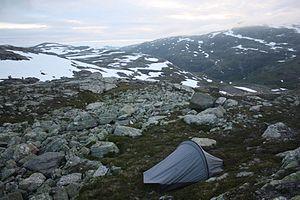 Hardangervidda National Park - Hiking tent in southwestern Hardangervidda