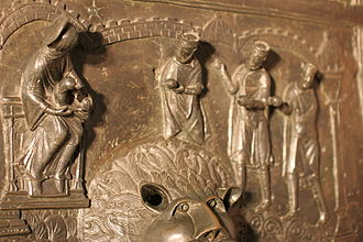 Bernward Doors - Detail of the right door leaf: The adoration of the Magi