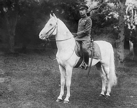 The Emperor and the Imperial stallion Shirayuki (literally: 'white-snow') Hirohito Sirayuki.jpg