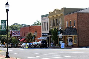National Register of Historic Places listings in Gaston County, North Carolina - Image: Historic Downtown Belmont (right side of street) 9 20 2014