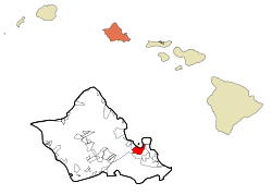 Honolulu County Hawaii Incorporated and Unincorporated areas Kaneohe Highlighted.svg