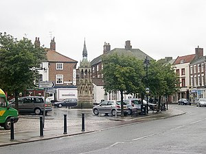 Horncastle, Lincolnshire - Horncastle Market Place with Stanhope Memorial