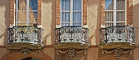 Hotel Reynier façade rue Rue Mage (Toulouse) - Ferronnerie - PA00094568.jpg