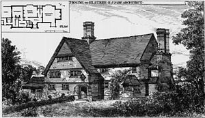 E. J. May - House at Elstree designed by Edward John May, and Exhibited at Royal Academy in 1887.