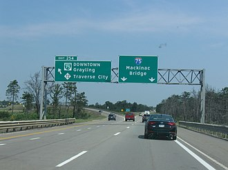 Interstate 75 in Michigan - Exit 254 south of Grayling