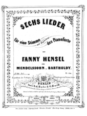 Title page of first edition of Fanny Hensel's Op. 1, 1846 (Source: Wikimedia)