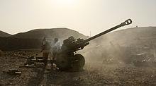 7 Parachute Regiment Royal Horse Artillery Gunners Fire Their 105mm Light Gun At Taliban Positions In Afghanistan During August 2008
