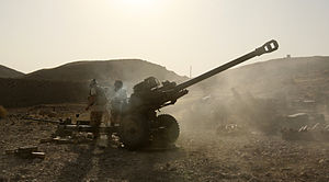 G Parachute Battery (Mercer's Troop) Royal Horse Artillery - ISAF soldiers with 7th Parachute Regiment Royal Horse Artillery fire their 105mm Light Gun at Taliban positions. Kajaki, Afghanistan, 28 August 2008