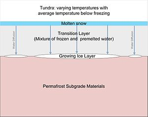 Ice segregation -  Ice Lens formation within tundra.