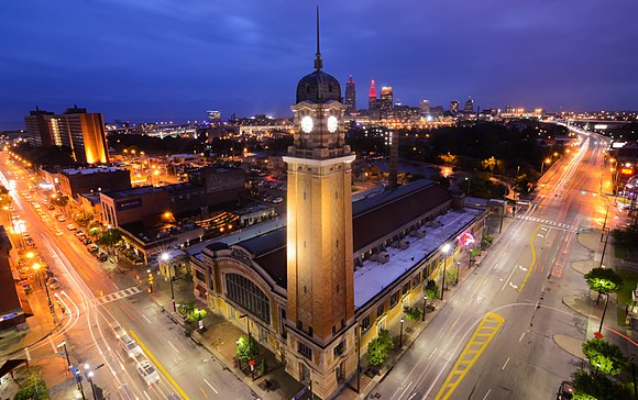 The historic Ohio City neighborhood at night. Illuminated West Side Market.jpg