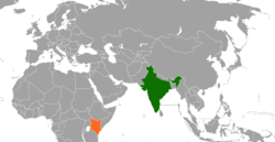 Map indicating locations of India and Kenya