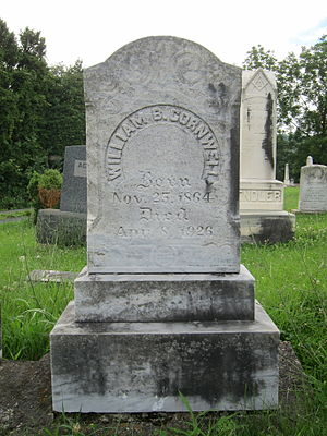William B. Cornwell - Gravestone at the interment site of William B. Cornwell at Indian Mound Cemetery in Romney, West Virginia.