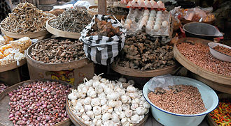 Bumbu (seasoning) - Various Indonesian spices sold in traditional marketplace