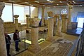 Inside the Memorial Church of Moses. On the right (floor), mosaics of the Basilica, mid-6th century CE. Mount Nebo, Jordan.jpg