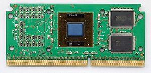 Pentium III - A Pentium III Katmai SECC2 cartridge with heatsink removed.