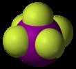 Space-filling model of iodine pentafluoride